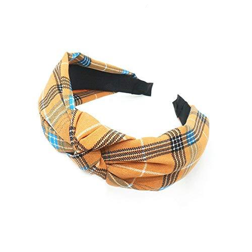 Women Girls Knot Floral Print Hairband Headband Fabric Hair Band Hair Accessory (Colors - Yellow)