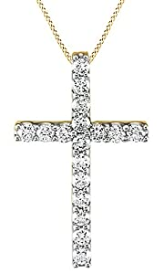 Round Cut White Natural Diamond Cross Pendant Necklace In 14k Yellow Gold