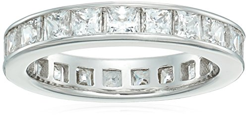 Platinum-Plated Sterling Silver Swarovski Zirconia Channel Princess-Cut All-Around Band Ring, Size 7