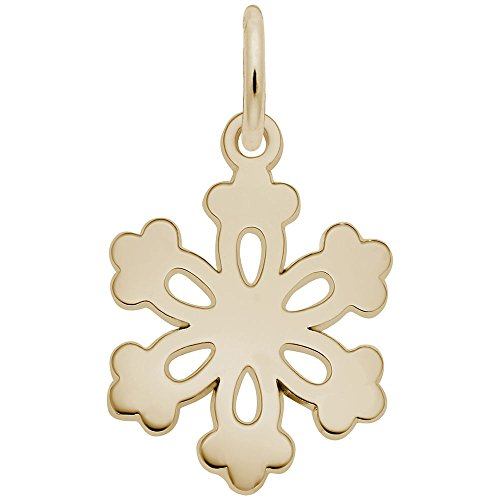 10k Yellow Gold Snowflake Charm, Charms for Bracelets and ()