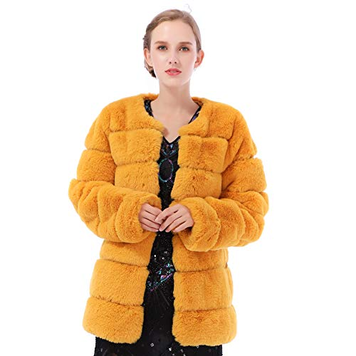b9865e4fadfd Dikoaina Women s Winter Soft Outerwear Warm Long Faux Fur Coat Jacket with  Pockets