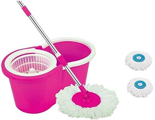 Vikas Microfiber 360 Degree Easy Magic Cleaning Mop Floor Cleaner with Bucket Set  Pink with 2