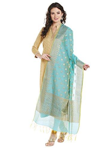 Dupatta Bazaar Women's Benarasi Silk Woven Blue & Gold dupatta