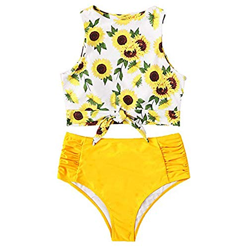Crew Floral Bikini - Remidoo Women Swimsuit Tie Knot Front Crew Neck Floral Printed High Waist Bikini Set (L, Sunflower)