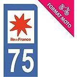 Autocollant Moto immatriculation 75 - Paris