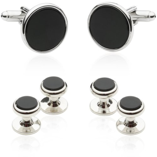 Cuff-Daddy Mens Genuine Black Onyx Silver Tuxedo Cufflinks and Studs ()