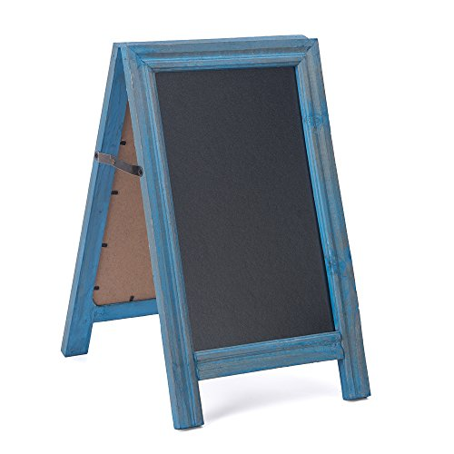 """SUPERIORFE Vintage Free Standing Rustic Style Two-Side Wood Frame Chalkboard 9.5"""" W X 15.7"""" L"""