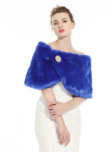 Faux Fur Wrap Shawl Women's Shrug Bridal Stole for Winter Wedding Party Free Brooch Royal Blue