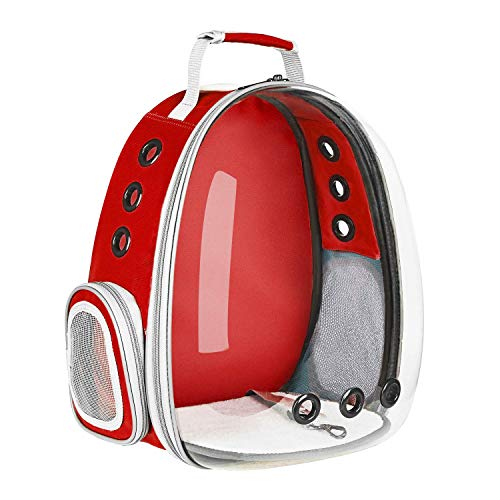 XZKING Cat Backpack Carriers, Ventilate Transparent Space Capsule Backpack for Puppies Traveling, Camping and Hiking (red)