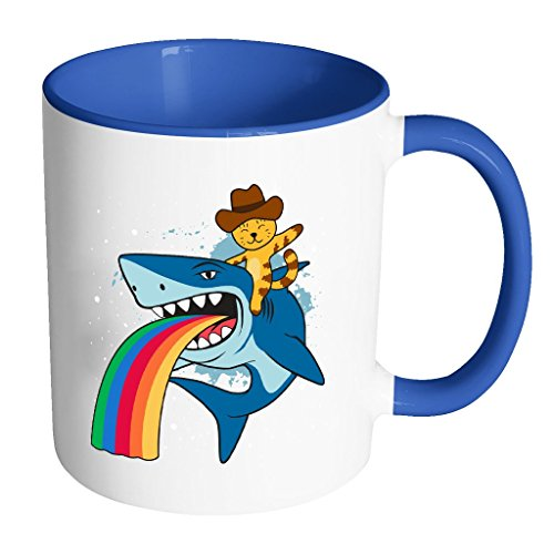 Cat Cowboy riding a Shark spewing a Rainbow | Funny Cool White 11 oz Accent Coffee Mug in Different (Fat Halloween Meme)
