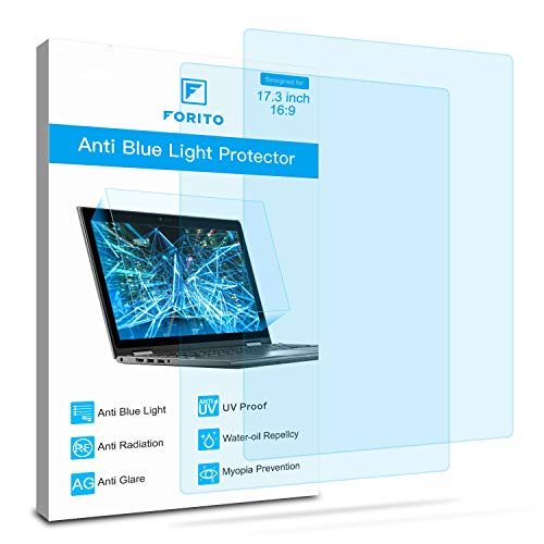 2-Pack 17.3 Inch Screen Protector -Blue Light and Anti Glare Filter, FORITO Eye Protection Blue Light Blocking & Anti Glare Screen Protector for 17.3 with 16:9 Aspect Ratio Laptop