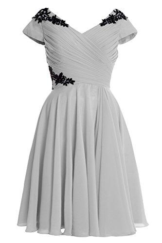 Silber of Dress Mother Sleeve Cap MACloth Gown Formal Cocktail Short Elegant Bride HPSx7qqUn