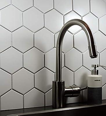 """1/4 Sheet Sample - Glazed Porcelain Mosaic Tile Sheet Barcelona 4""""x4"""" Hexagon Matte White"""