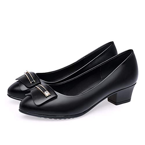 Battle Old And Soled Comfortable Mouthed Single Leather Mom'S Shallow Thirty Shoes Shoes Lady Flat KPHY Age Shoes Black Aged Middle Eight Elegant Spring Shoe Soled Soft UIzwqwvxH