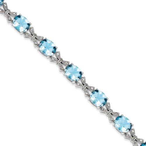 Icecarats Créatrice De Bijoux En Argent Sterling Ovale Bleu Et Clair Bracelet Cz De 7 Pouces