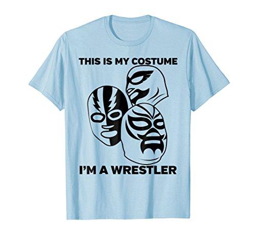 Mens Wrestler Halloween Costume Tshirt Medium Baby Blue by Wrestling Fans Tee Shirts