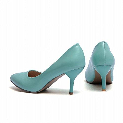 Moyen Escarpins Turquoise MissSaSa à Femmes Fermetures Enfiler Talons 0R8wYxq