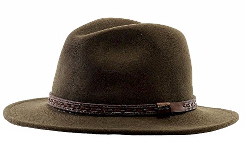 Scala Classico Men's Crushable Felt Safari With Leather Hat,Green,L (Scala Leather)
