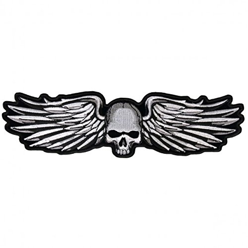 Skull With Wings (Hot Leathers, SKULL AND WINGS, Exceptional Quality Iron-On / Saw-On, Heat Sealed Backing Rayon PATCH - 5