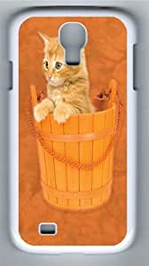 Bucket Kitten PC Case Cover for Samsung Galaxy S4 and Samsung Galaxy I9500 White