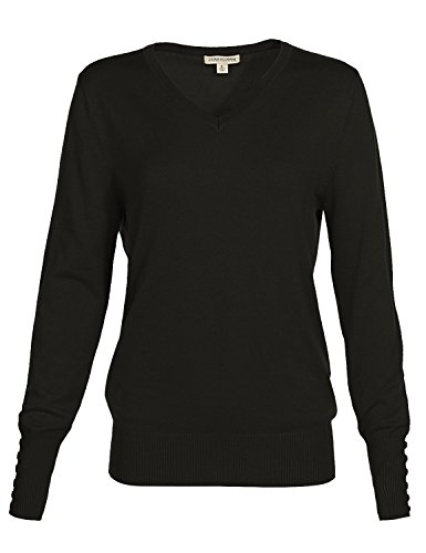 Classic Basic Solid V-Neck Knit Long Sleeve Ribbed Button Details Tops Pullovers Sweaters
