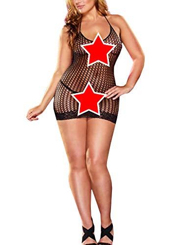 (SeaFever Sexy Lingerie for Women Fishnet Bodysuit One Piece V-Neck Mini Dress Strapless Mesh Chemise Babydoll (black390))