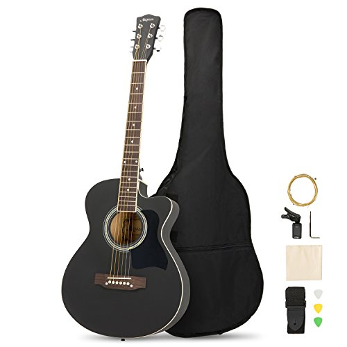 Artall 39 Inch Handmade Solid Wood Acoustic Cutaway Guitar Beginner Kit with Tuner, Strings, Picks, Strap, Matte Black