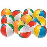 "NJ Novelty - 20"" Large Inflatable Beach Balls 1 Dozen Rainbow Color,"