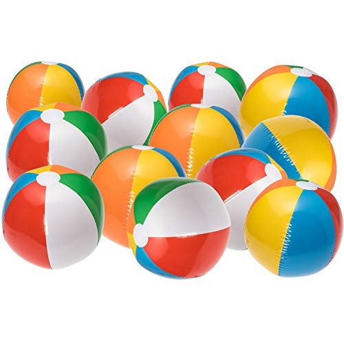 (NJ Novelty Large Inflatable Beach Balls 20 Inch, Pack of 12 Rainbow Colored for Pool Party, Summer Water Fun and Birthday Parties - Bulk Pack for Adults and)