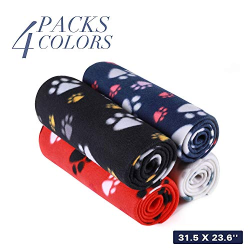- 4 Pack Puppy Blanket with Paw Print, Dog Cat Fleece Warm Blankets, Pet Soft Sleep Bed Cover for Small Animals, 23.6x31.5