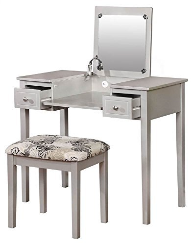 Linon Vanity and Stool in Silver