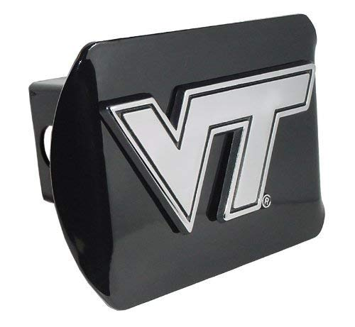 "Virginia Tech Hokies 'Black with Chrome ""VT"" Emblem' NCAA College Sports Metal Trailer Hitch Cover Fits 2 Inch Auto Car Truck Receiver Elektroplate VT-BLK-HC"