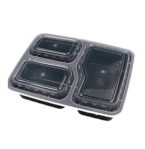 Meal Prep Containers 3 Compartment - Food Storage Containers with Lids [Comparable to Tupperware Set ] - Thick BPA Free Reusable Bento Lunch Box for Portion Control 21 Day Fix [15-Pack] (150)