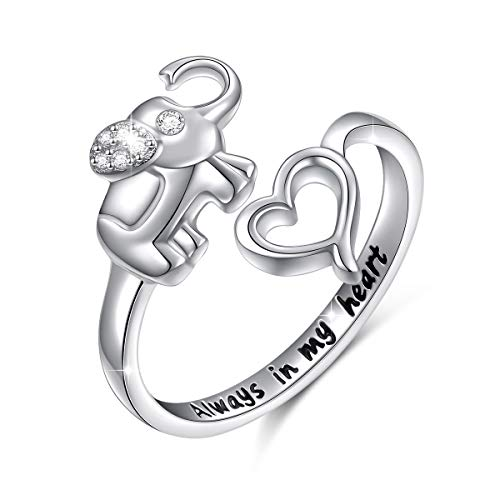Elephant Ring Sterling Silver Engraved Always in My Heart Lucky Elephant Adjustable Wrap Open Ring for Women Girls