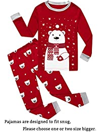 Christmas Bear Little Boys Girls Child Pajamas Sets 100% Cotton Toddler PJS
