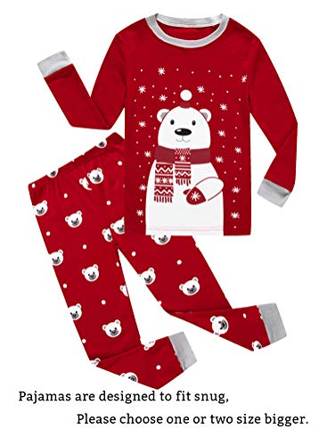 Family Feeling Little Girls Boys Long Sleeve Christmas Pajamas Sets 100% Cotton Pyjamas Toddler Kids Pjs Size 4T Red -