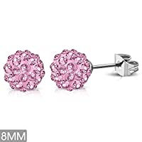 8mm | Stainless Steel Argil Disco Ball Shamballa Stud Earrings w/ Rose Pink CZ (pair) - XRY406