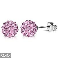 8mm | Stainless Steel Argil Disco Ball Shamballa Stud Earrings w/ Rose Pink CZ (pair) - XRY406