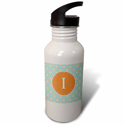 3dRose Janna Salak Designs Monogram Collection - Letter I Monogram Orange and Blue Quatrefoil Pattern - Flip Straw 21oz Water Bottle (Quatrefoil Collection)
