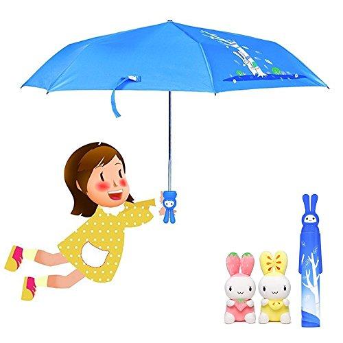 KAILEDI Umbrella, Outdoor Windproof Cute Children Umbrella, Folding Portable Travel Umbrella,Rabbit Bottle Umbrella(blue)