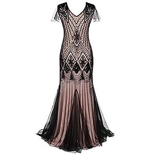 PrettyGuide Women 1920s Ball Gown Sequin Art Deco Mermaid Evening Dress S Black Beige