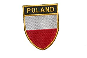 Poland Polska Country Flag OVAL SHIELD Embroidered Iron on Patch Crest Badge 5 X 6 1/4 Cm .. New