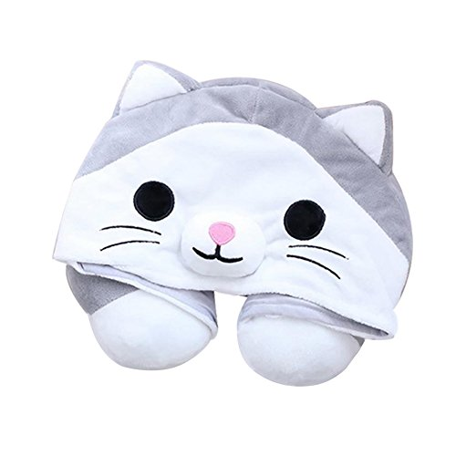 VOPOCO Cute Cartoon Animal 2 in 1 U Shaped Neck Pillow with Cute Onesie Cartoon Cap Cozy Travel Cushion Head Stress Relief Airplane Car Office for Warmth and Privacy Funny - Animal Neck