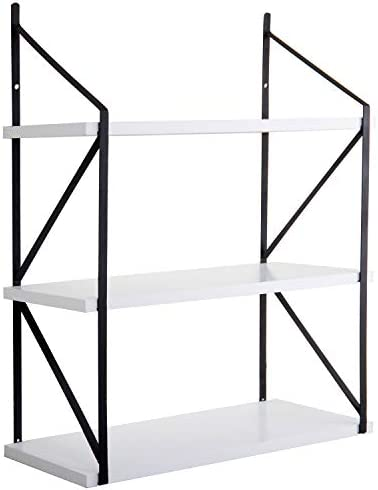 MyGift Modern 3-Tier White Wood Hanging Wall Shelf with Black Metal Brackets