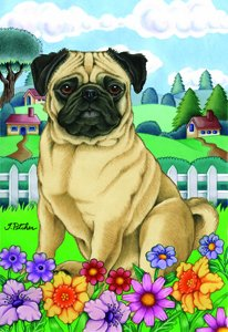 Pug Fawn - Tomoyo Pitcher Spring Garden Flag