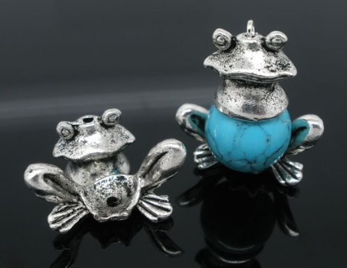 (5 Sets Antique Silver Frog Bead Caps (Fits 12-14mm Beads) Beading Supplies)