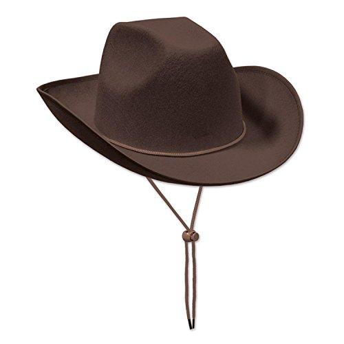 Costumes Hoedown Kids (Club Pack of 6 Western Themed Brown Felt Cowboy Hat Costume)