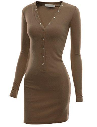 Doublju Slim Fit Ribbed Knit Button Down Henley Hoodie Dress (Plus size available) KHAKI MEDIUM