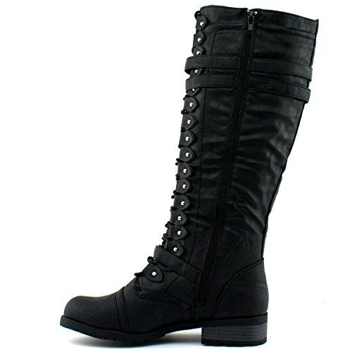 Wild Diva Damenmode Timberly-65 Militär Kniehohe Kampfstiefel Schuhe Premier Schwarz *