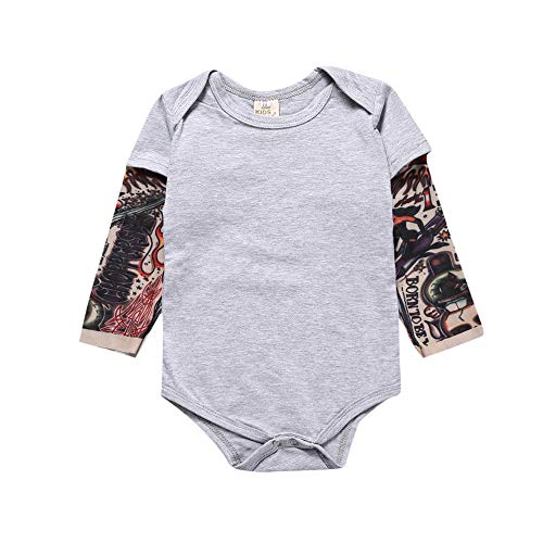 NewZhu Toddler Baby Boy Bodysuit Tattoo Sleeve One-Piece Romper Jumpsuit Halloween Outfit Costume Gift(6-12M) Grey -